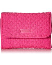 Vera Bradley Microfiber Rfid Riley Compact Wallet - Pink