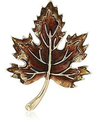 Napier - Multi Colored Fall Leaf Pin, Gold - Lyst