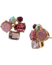 Betsey Johnson Stone Cluster Stud Earrings - Pink
