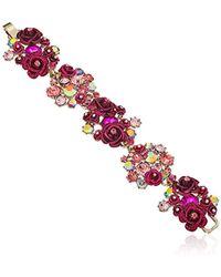 Betsey Johnson - Roses Gold And Pink Floral Cluster Bracelet - Lyst