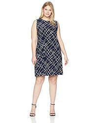 Anne Klein - Size Plus Sleeveless U-neck Swing Dress - Lyst