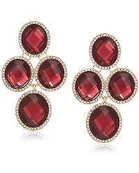 Anne Klein Gold Tone And Burgundy Oval Stone Chandelier Ez Comfort Clip Earrings, One Size - Metallic