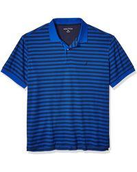 Nautica Mens Classic Fit Short Sleeve 100% Cotton Stripe Soft Polo Shirt - Blue