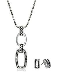 Napier - Classics Silver-tone Pendant Necklace And Earrings Jewelry Set - Lyst