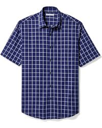 Amazon Essentials Regular-Fit Short-Sleeve Plaid Shirt Chemise - Bleu