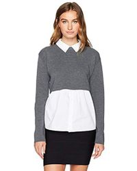 MILLY - Removable Shirting Sweater - Lyst