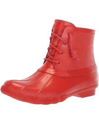 Sperry Top-Sider Saltwater Rubber Flooded Rain Boot - Red