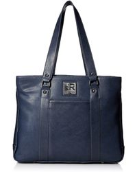 """Kenneth Cole Reaction Hit Pebbled Faux Leather Triple Compartment 15"""" Laptop Business Tote - Blue"""