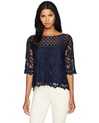 Cupcakes And Cashmere Andrie Lace Blouse - Blue