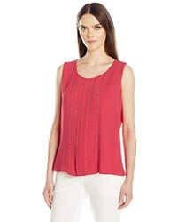 Calvin Klein - Sleeveless Top With Stud Detail - Lyst