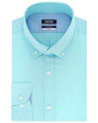 Izod Dress Shirts Slim Fit Stretch Gingham - Blue