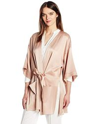 Halston - Satin Kimono Wrap Jacket Multi Needle Sash - Lyst