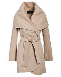 T Tahari Double Face Wool Coat With Optional Self Tie Belt - Brown