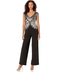 ADRIANNA PAPELL Black White Colorblock Crepe Maxi Culottes Jumpsuit Dress 16W 1X