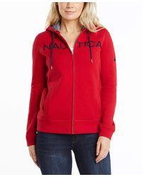 Nautica Go-to Signature Cotton Full-zip Logo Hoodie - Red
