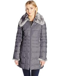 Laundry by Shelli Segal - 3/4 Down Quilted Coat With Faux Fur Collar And Cuffs - Lyst