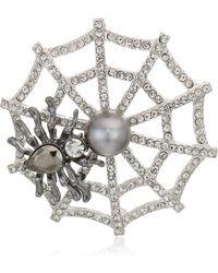 Napier Box Hematite Jet Spider Web Pin - Multicolor