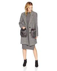 Kendall + Kylie Hountstooth Wool Coat