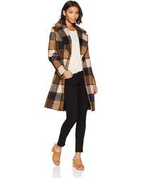 Kensie Mid Length Notch Collar Wool Coat - Multicolor