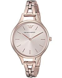 Emporio Armani - 'dress Quartz Stainless Steel Casual Watch, Color:pink (model: Ar11055) - Lyst