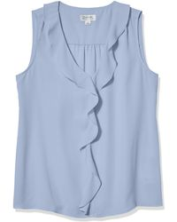 Tahari Petite Sleeveless Ruffle Blouse - Blue