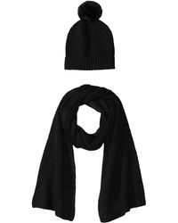 Amazon Essentials Pom Knit Hat And Scarf Set - Black