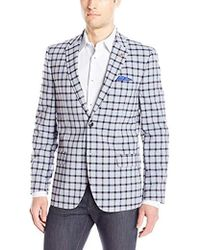 Ben Sherman Two Button Check Plaid Blazer - Blue