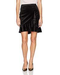 Ivanka Trump Velvet Faux Wrap Ruffle Skirt - Black