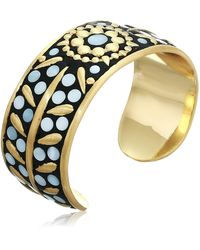 Lucky Brand Hammered Gold And Mop Inlay Cuff Bracelet - Metallic