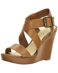 a106bb618b49 Lyst - Jessica Simpson Lindella Brown Wedge Sandal in Brown