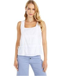 Lucky Brand Sleeveless Mixed Media Tie Tank Top - White