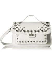 Steve Madden Mary Nonleather Frontflap Silver Studded Satchel Handbag Mary Nonleather Frontflap Silver Studded Satchel Handbag - White