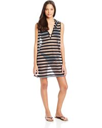 Kenneth Cole Reaction Mod Stripes Sleeveless Cover Up - Black