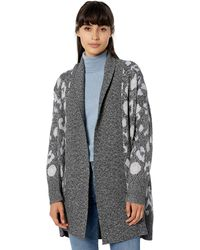 Cupcakes And Cashmere Molly Leopard Shawl-collar Cardigan - Gray