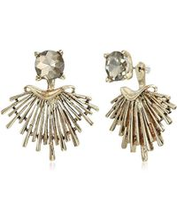Badgley Mischka - Champagne Round And Metal Jacket Earrings, Gold - Lyst