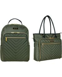 """Kenneth Cole Reaction Chevron 15"""" Laptop & Tablet Business Tote With Removable Shoulder Strap - Green"""