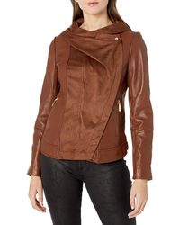 Vince Camuto Asymmetrical Zip Mix Media Leather Jacket - Brown