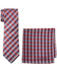 Nautica Plaid Tie & Pocket Square Set - Red