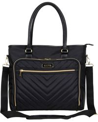 "Kenneth Cole Reaction Chevron 15"" Laptop & Tablet Business Tote With Removable Shoulder Strap - Black"