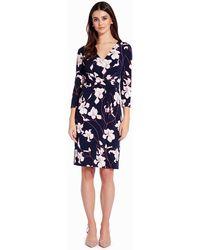 Adrianna Papell Three Quarter Sleeve Floral Sheath Dress - Blue