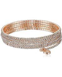 Anne Klein - Social Glamour Crystal Multi-row Stone Flex Bracelet - Lyst