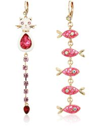 Betsey Johnson Cat & Fish Mismatch Earrings - Pink