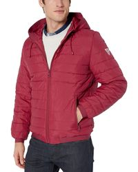 Guess Lightweight Puffer Jacket With Hood - Red