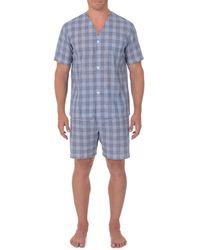 Geoffrey Beene Broadcloth Short Sleeve Knee-length Pajama Set - Blue