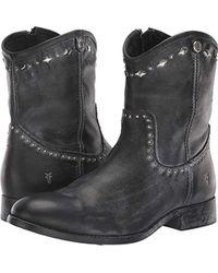 Frye Melissa Button Multi Stud Short Ankle Boot - Black