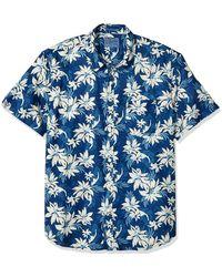 Lucky Brand Short Sleeve Button Floral Ballona Shirt - Blue