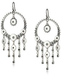 Lucky Brand S Pave Disc Earrings - Metallic