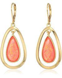 Anne Klein - Gold Tone And Pink Stone Orbital Drop Leverback Drop Earrings - Lyst