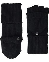 Calvin Klein Knitted Convertible Fingerless Gloves With Mitten Flap Cover - Black