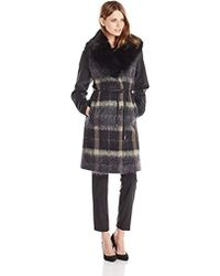 Vera Wang - Sophie Plaid Wool-blend Coat With Faux-fur Collar - Lyst